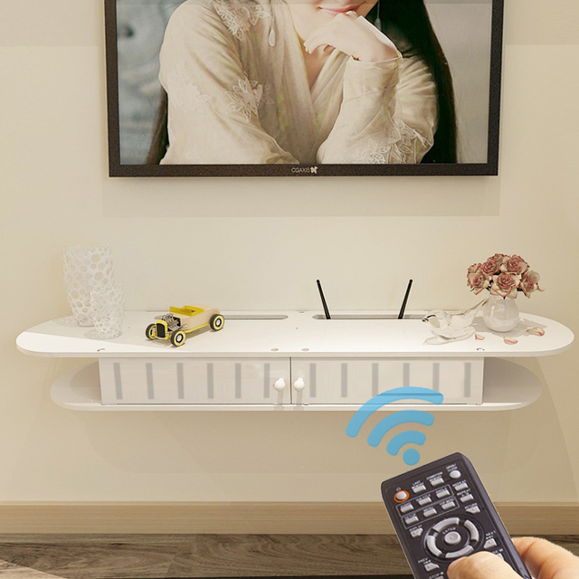 Simple Set Top Box On The Living Room Wall Hanging Rack Bedroom Router Storage