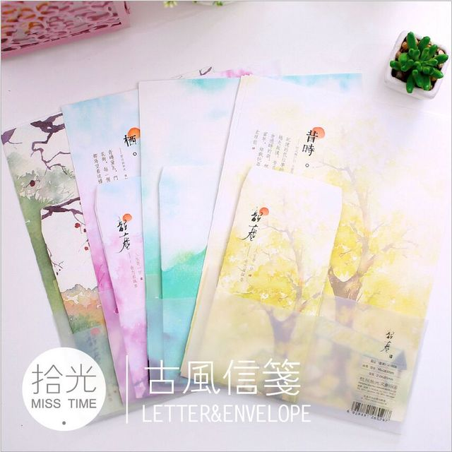 chinese style fancy landscape scenery letter pad paper 6 sheets
