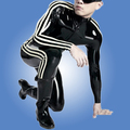 Nuevos hombres de moda de goma Catsuit de látex fetiche de látex negro Sexy mono macho con 3 blanco tiras Hot venta