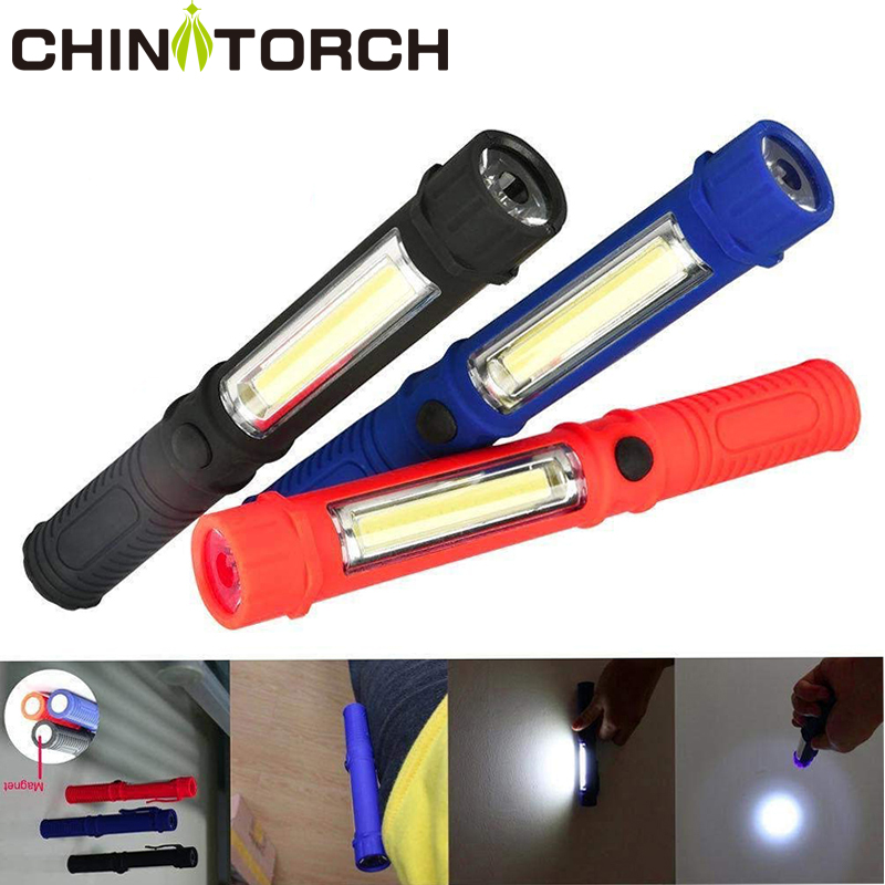COB LED Flashlight Magnetic Portable Mini Pen Light Working Torch Lamp Super Bright Pocket Light  For Outdoor Camping Hunting
