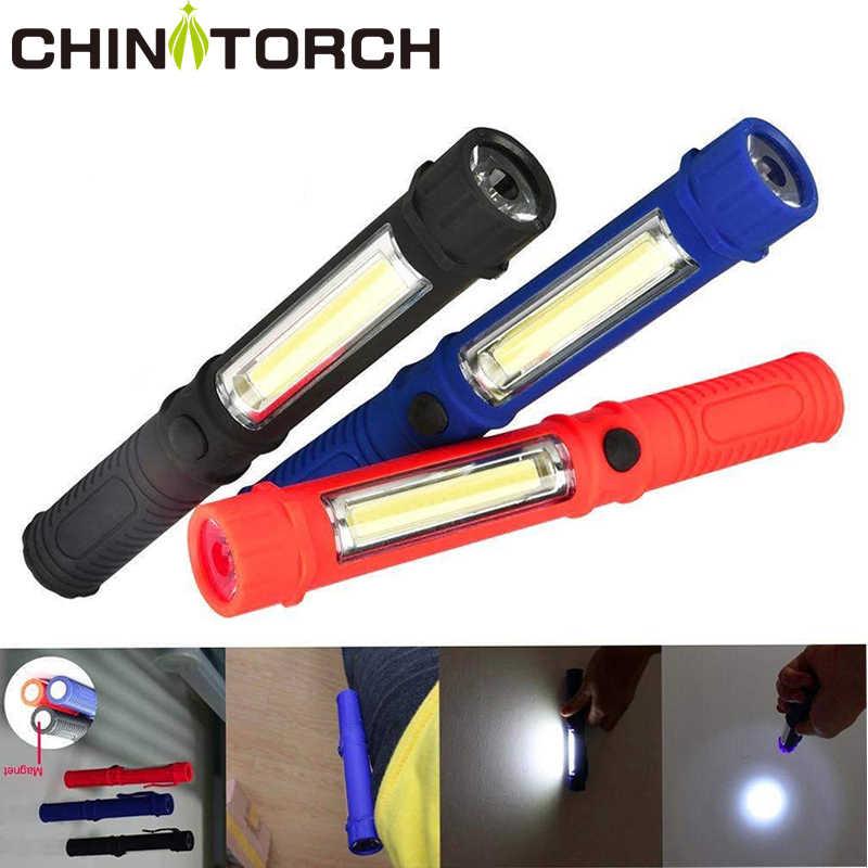 COB lampe de poche LED magnétique Portable Mini stylo lumière torche de travail lampe Super lumineux lumière de poche pour Camping en plein air chasse