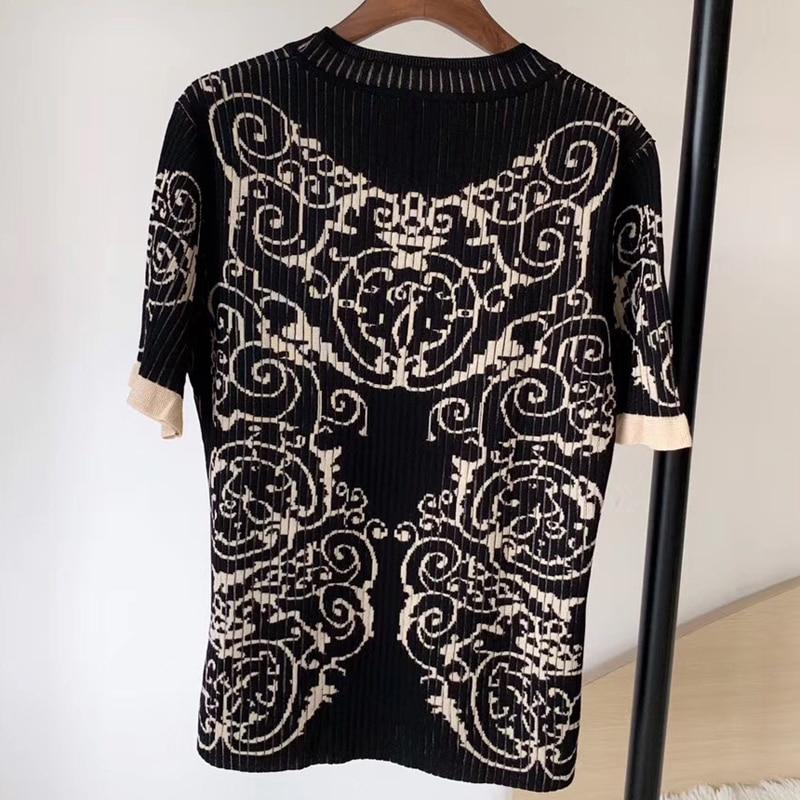 Suéter de flores negras para mujer manga larga cuello redondo Delgado estilo señora manga corta jerseys 2019 nuevo suéter de mujer-in Pulóveres from Ropa de mujer    1
