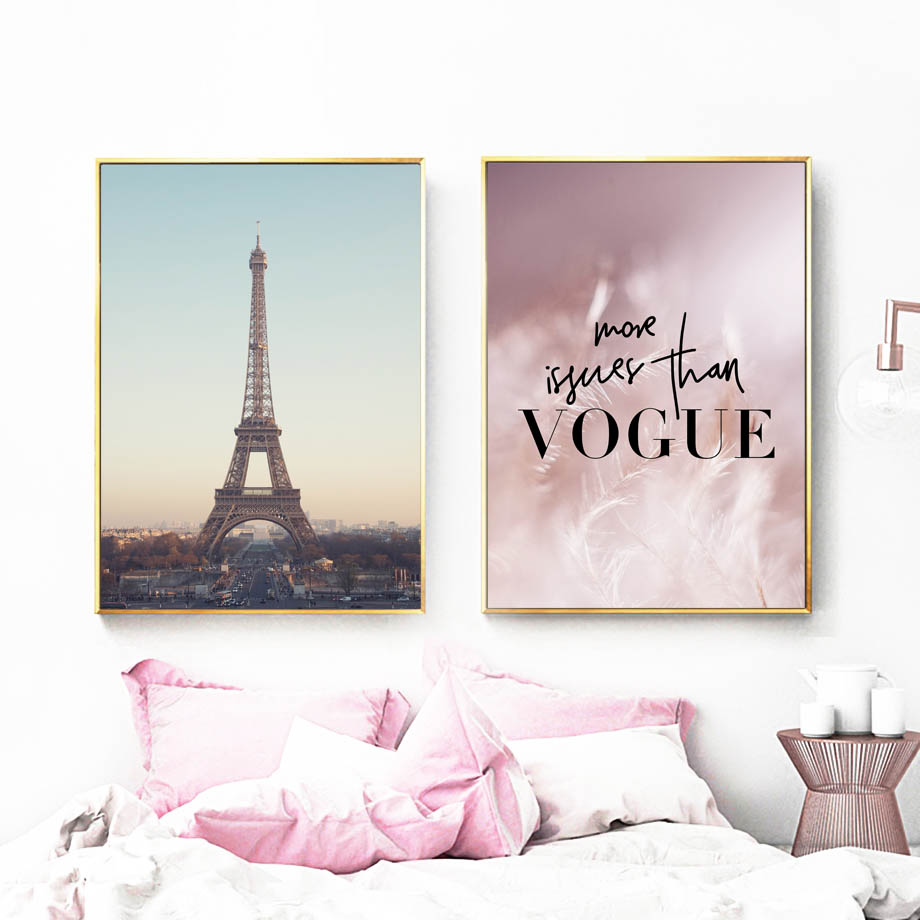 Pink Feather Paris Tower Road Wall Art Canvas Painting VOGUE Nordic Posters And Prints Wall Pictures For Living Room Home Decor in Painting Calligraphy from Home Garden