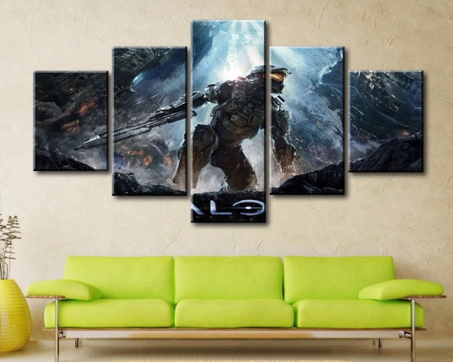 5 Pieces Game Poster Halo 4 Canvas Painting Decoration Wall Art Home ...