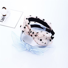K Korean version of the fresh mesh lace bow fabric handmade headband retro hair accessories tiara head buckle pressure