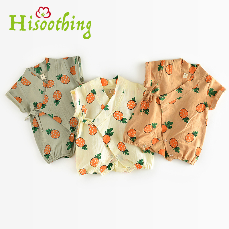 Summer short-sleeved cotton jumpsuit Tshirt Men and women baby conjoined clothes summer 0-2 year old baby cotton pineapple dress new mens colors short sleeve cotton tshirt henry kissinger quote absence