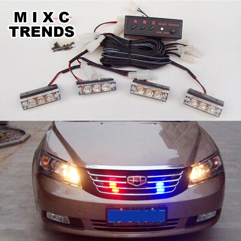 MIXC TRENDS Motosiklet Strobe Flash Light DC 12V 4x3 işıqlı yanan - Avtomobil işıqları - Fotoqrafiya 6