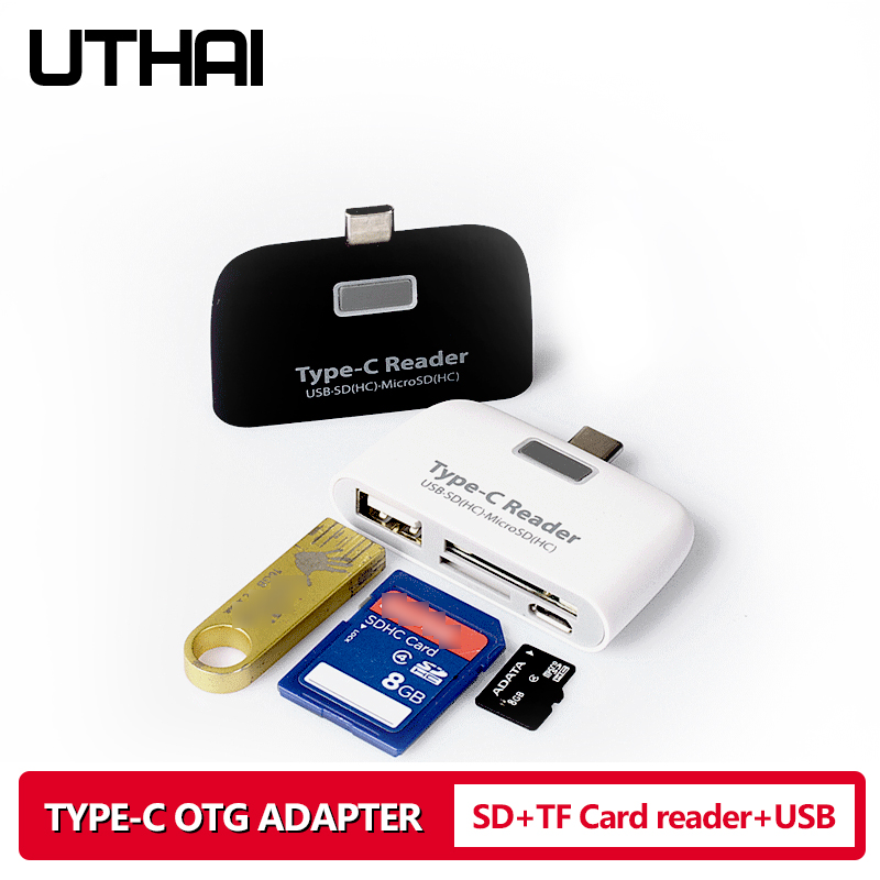 UTHAI J08 Type-C USB3.1 Multi Card Reader For SD TF USB2.0 Cardreaders Of Android Phones LED Lights USB OTG Adapter For Mouse