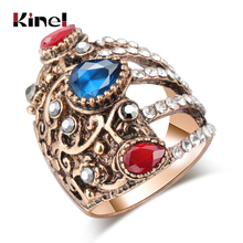 Kinel Unique Vintage Ring For Women Bohemia Ethnic Wedding Jewelry Antique Gold Color Turkish Punk Big Rings 2019 New