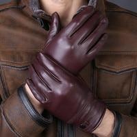 2017 جديد وصول مصمم الرجال جودة عالية حقيقية جلد الغنم الحقيقي قفازات الشتاء الدافئ للأزياء الرجال luvas