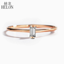 HELON Solide 14K Rose Gold 0.05CT Baguette Cut SI/H 100% Echte Natürliche Diamanten Engagement Ring Frauen Trendy feine Schmuck