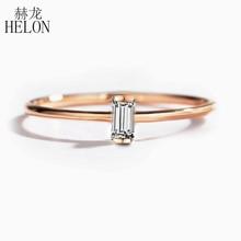 HELON anillo de compromiso con diamantes naturales auténticos para mujer, sortija de oro rosa de 14 quilates, corte Baguette SI/H, joyería delicada de moda