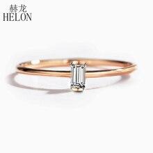 HELON katı 14K Rose Gold 0.05CT baget kesim SI/H 100% hakiki doğal Diamonds nişan yüzüğü kadın moda güzel takı