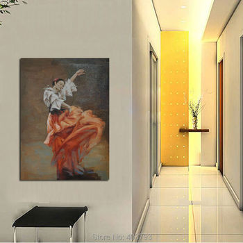 Pure Hand-painted Oil Painting Dancing Girl Decorative Pictures Canvas Art On The Wall No Frame Home Decor