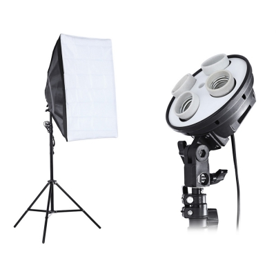 3 in 1 Photo Studio Kit 4 Lamp Holder 2m Light Stand 50 x 70cm Soft Box with free shipping