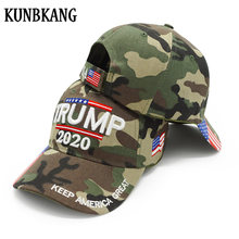 High Quality Trump 2020 Hat USA Flag Camo Baseball Cap 3D Embroidery Keep America Great Camouflage Snapback Dad Hat Trucker Caps(China)