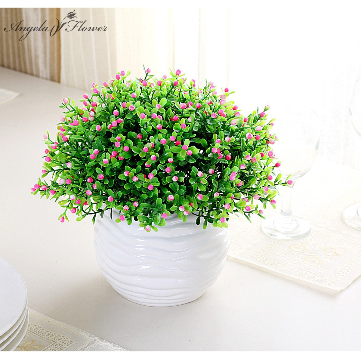 Christmas artificial miraflor orchid aglaia flower green for Artificial decoration
