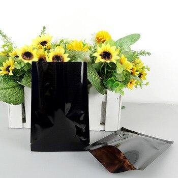 9*13cm Open Top Black Aluminum Foil Storage Bags Snack Candy Food Heat Seal Mylar Foil Vacuum Package Pouches 1200Pcs/Lot DHL