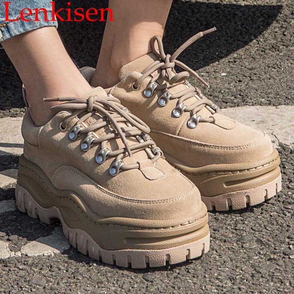 2019 يوصي التهوية البقر المدبوغ الدانتيل يصل وسيم الفتيات عالية الكعب منصة أحذية رياضية خمر كاوبوي حزب يؤرخ أحذية L79-في أحذية نسائية من أحذية على  مجموعة 1