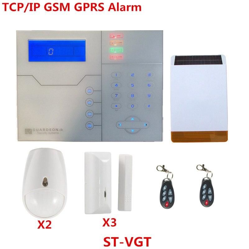 Английский французский голос TCP IP gsm сигнализация Умный дом Охранная сигнализация с солнечной импульсивный осветитель сирена сигнализация
