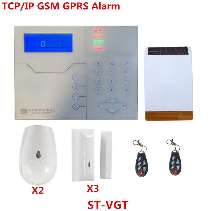 English French Voice TCP IP Alarm System GSM Smart Home Security Alarm With Solar Strobe Flash Siren Alarm