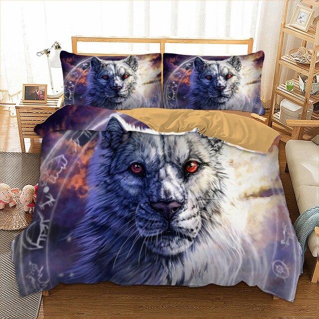 f683d820bf Tiger Powłoczki Twin Pełna Królowa Król UK Podwójne AU Pojedyncze Rozmiar  Zwierząt Kołdra Pokrywa Poduszka Przypadki