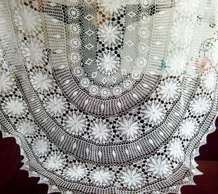White Handmade Corcheted Tablecloth 180x300cm Oval In Tablecloths