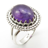 Solid Silver Amethysts Prong Setting Ring Size 8.75 New Wholesale Jewelry Unique Designed