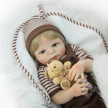 22'' bebe Boy  reborn bonecas full silicone reborn baby dolls with pacifier bear doll  child gift bonecas reborn oyuncak bebek