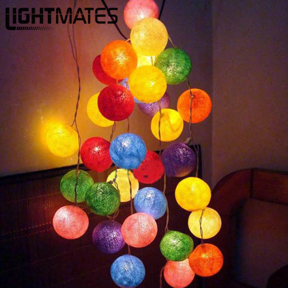 2.2M 20pcs colorful 12Colors Fabric Cotton Ball String Light Garland Fairy Light Wedding Party Christmas Holiday Home Decoration