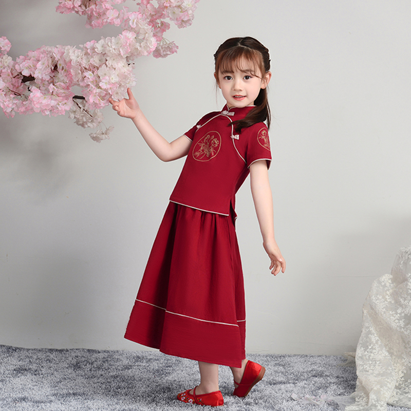 ActhInK 2019 High Quality 2Pcs Girls Cheongsam Chinese Style Girls Clothing Set Girls Summer Linen Dress Set Girls Tang Suit in Clothing Sets from Mother Kids