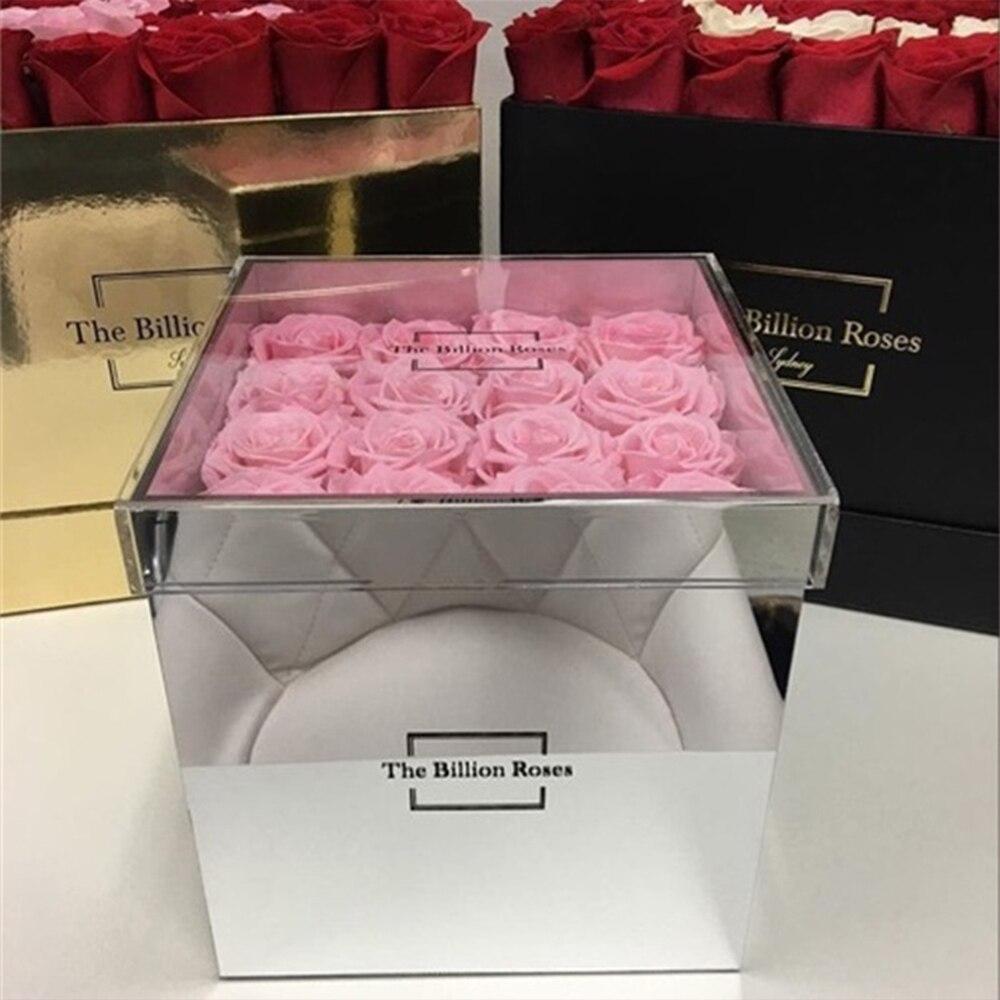 Acrylique Clair Fleur Boîte Rose De Cas De Stockage Saint Cadeau du Jour de Valentine Cadeau Pour Petite Amie Sans Fleurs