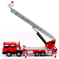 1:50 Ladder Fire Lift Truck Alloy Engineering Vehicle Model Ascended Ambulance Fire Car Telescopic Elevated Metal Toy For Boy