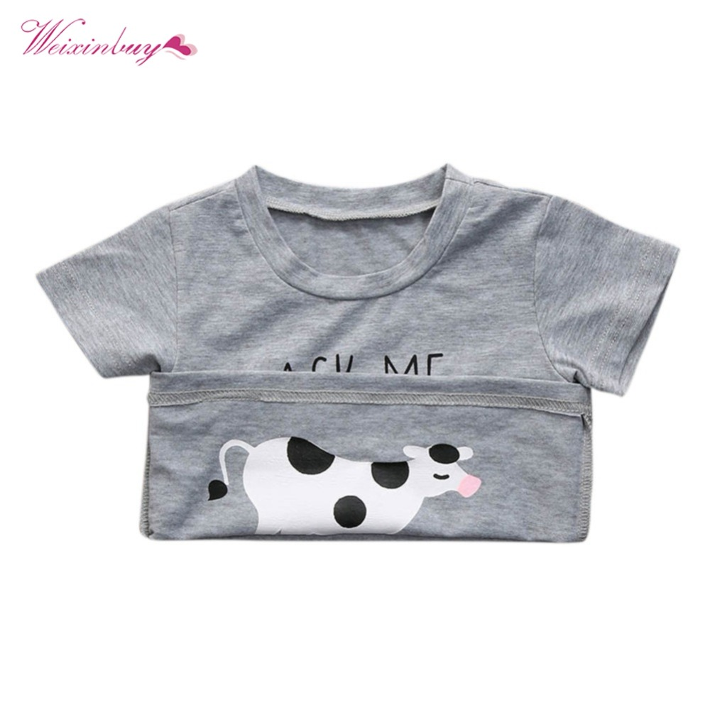 Baby Boys T-shirt Novelty Ask me about My Moo Cow Letter Kid Boy Toddler Tops T-Shirt Tees Inside Cow Clothes