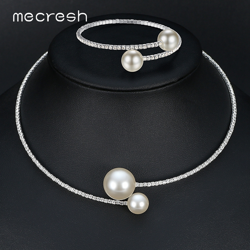 Mecresh Jewelry-Sets Crystal Simulated-Pearl-Bridal Women Simple Silver-Color Fashion