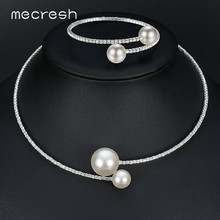 Mecresh Simple Simulated Pearl Bridal Jewelry Sets Crystal Fashion Wedding Jewelry Silver Color Necklace Sets for Women MTL415(China)