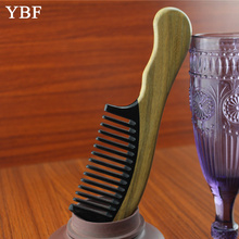 Detangling Makeup Hair Hairdressing Tools Ox Horn Green sandalwood Wooden Handle Combs Head Scalp Massager Hairbrushes brosse