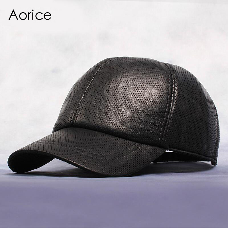 Aorice Genuine Leather Baseball Cap Mens Hats Keep Warm Caps Summer Solid Color Brown Black Leather Cap Leisure Fashion HL013