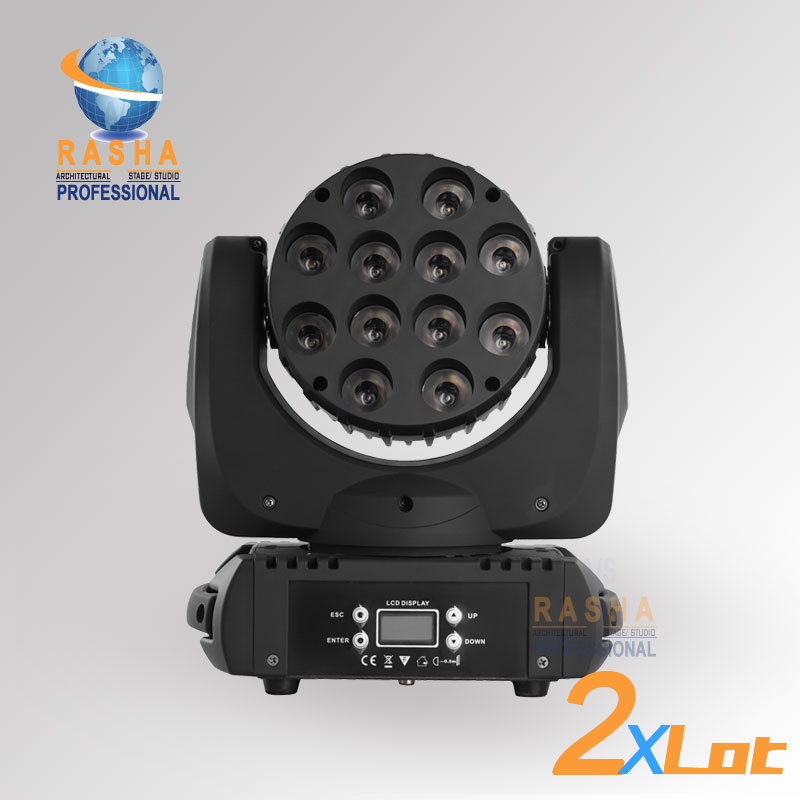 2X LOT Big Sale12pcs*10W 4IN1 Cree RGBW LED Moving Head Beam Light With LCD Display&Powercon Stage Disco Party Moving Head Beam