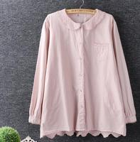 Spring Hollow Out Back Embroidery Peter Pan Collar Long Sleeve Mori Girl White Shirt Blouse