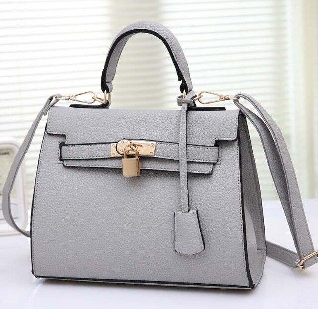 2017 Designer Classical Lock Bag Tote Satchels Elegant PU Leather Handbags Women Ladies Shoulder Messenger Crossbody Bags an194