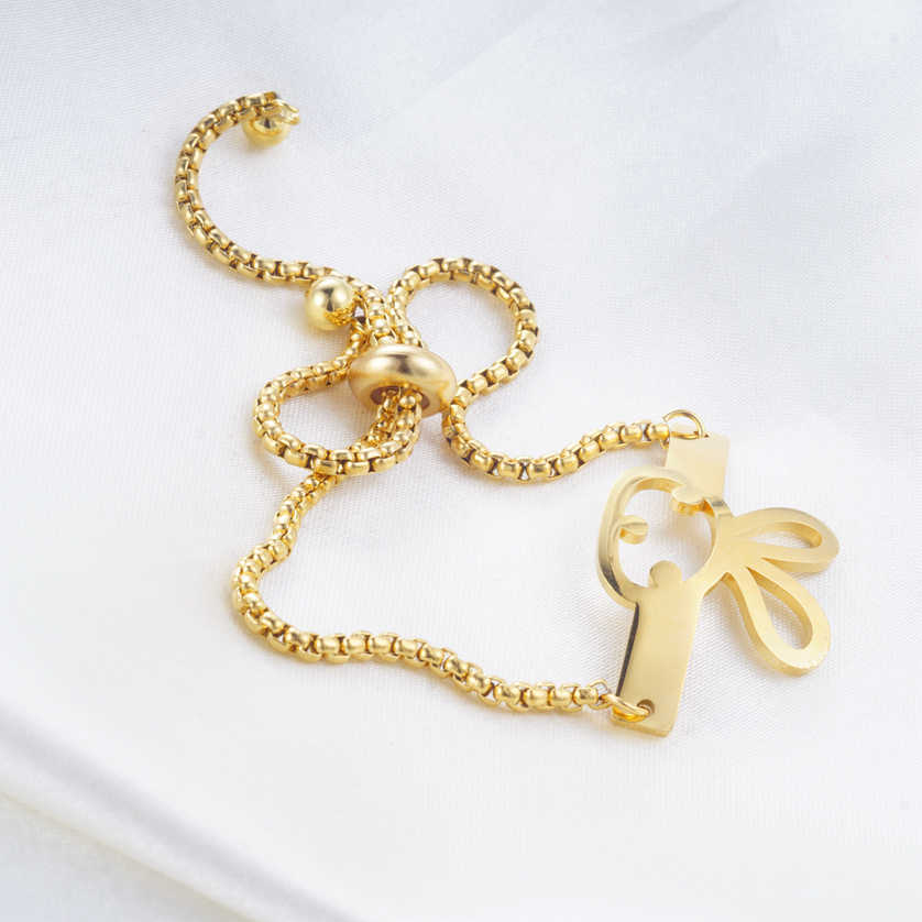 Yunkingdom Adjustable Lovely Rabbit Animal Gold Color Charms Bracelet for Women Girls Stainless Steel Jewelry
