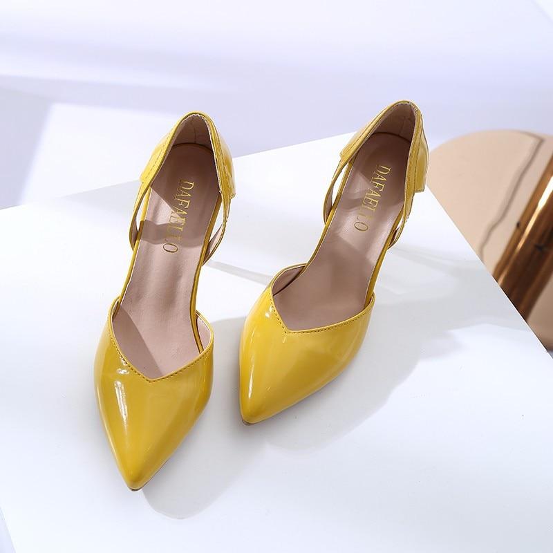 Beige Mode 2018 Stiletto Simples jaune noir Profonde Verni Peu Creux En Nouveau A Femmes Chaussures Été Talon Cuir Haut AwE4Wq1arE