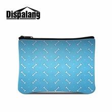 Dispalang blue women coin zipper bag bone prints women carry-on small storage bags kids mini wallet card holder makeup bag