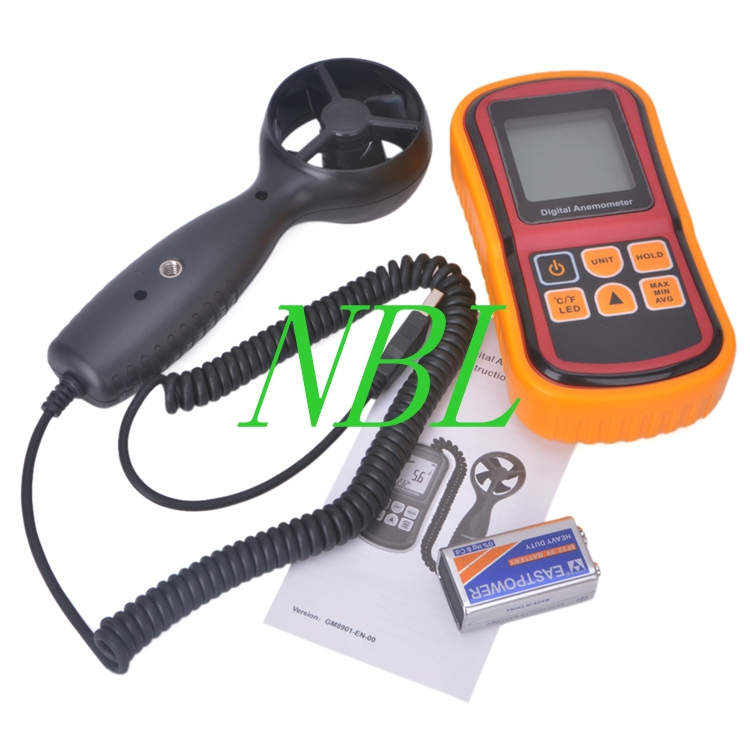 Digital LCD Electronic Handheld Anemometer Wind Speed Meter Thermometer 0~45m/s GM8901 Free Shipping free shipping gm8901 45m s 88mph lcd digital hand held wind speed gauge meter measure anemometer thermometer