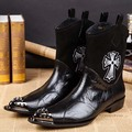 Бесплатная доставка Новое прибытие мода панк среднего теленок сапоги Заклепки Отметил Toe обувь ковбойские сапоги мужская обувь для мужчин Плюс размер 38-46