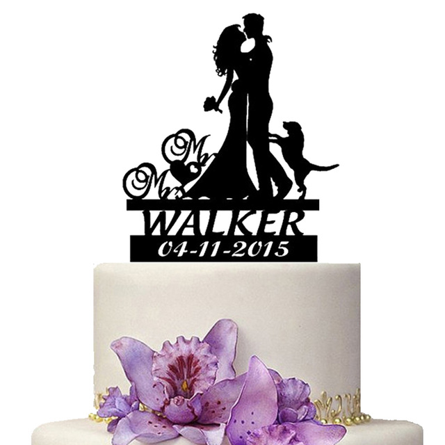 US $25 0 | Personalize Wedding Cake Topper Mr Mrs with Dog Pet Wedding  Decoration Names Date Custom Wedding Cake Decoration Accessory-in Cake