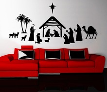 New arrival Nativity Scene Wall Sticker Bedroom Decoration Removeable Vinyl Decals Waterproof Home Decor mural