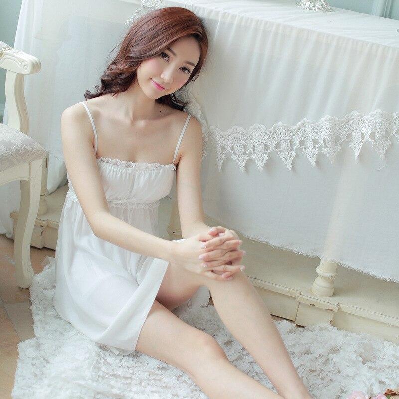 lovely summer Princess sling paja mas nightdress   Nightgown   girl sexy Palace White Women nightwear roupao feminino   Sleepshirts