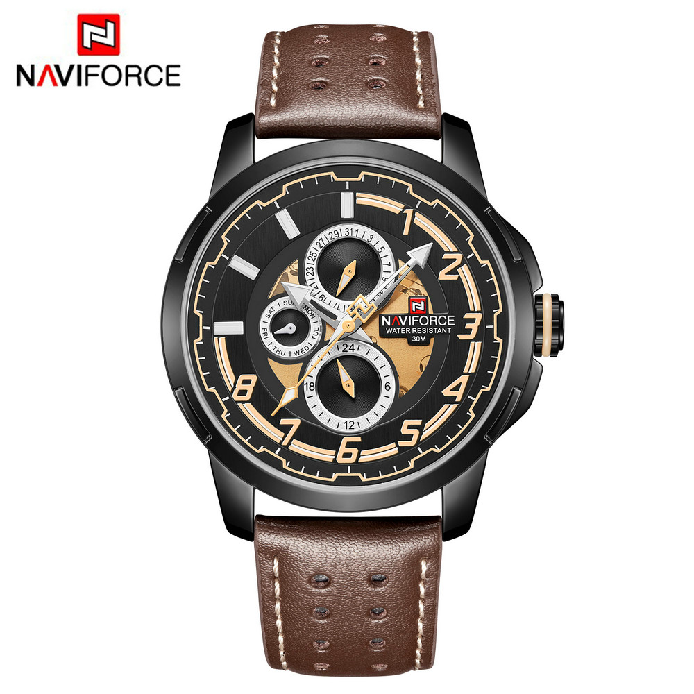 Naviforce Quartz Men Watch Waterproof Genuine Leather Watch Auto Date Week Display Military Wristwatches Montre Homme
